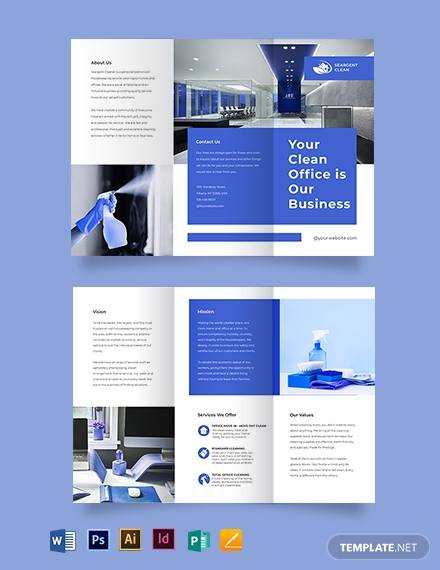 Office Cleaning Service Tri-Fold Brochure Template