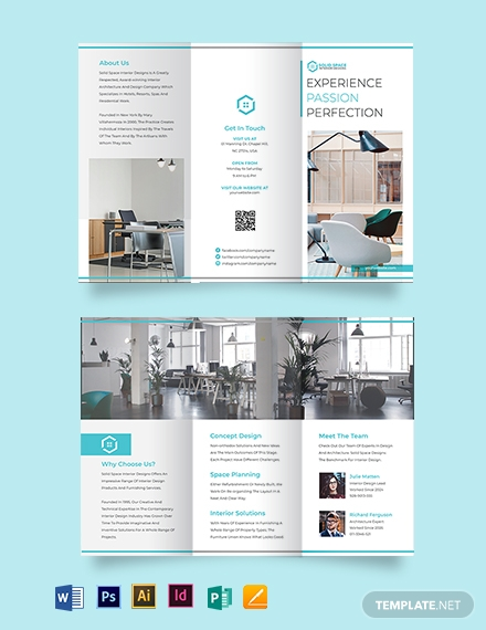 Office Interior Tri-Fold Brochure Template
