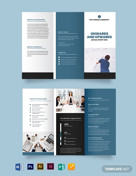 Organisation Annual Report Tri-Fold Brochure Template