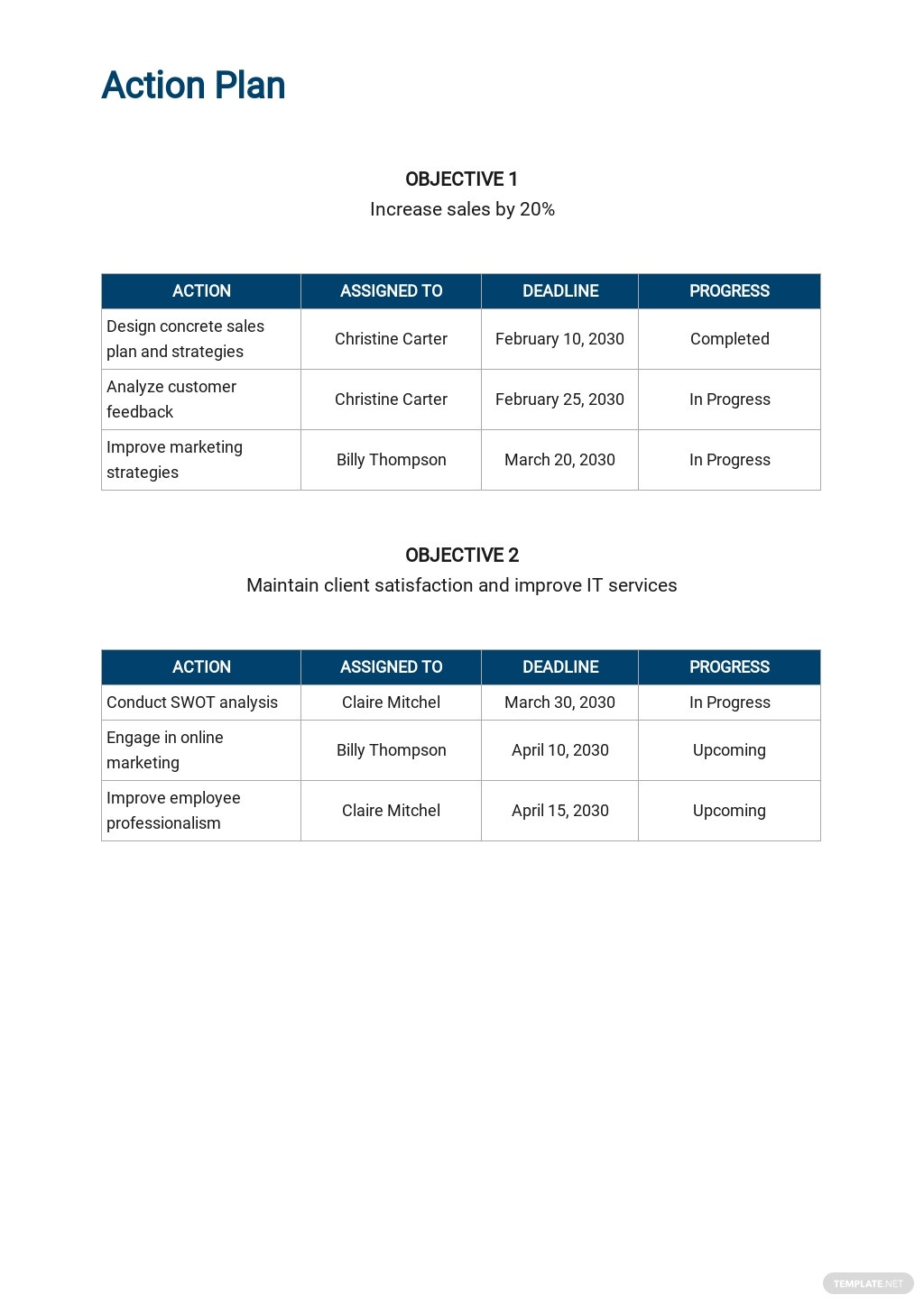 Free Simple Action Plan Template 3.jpe