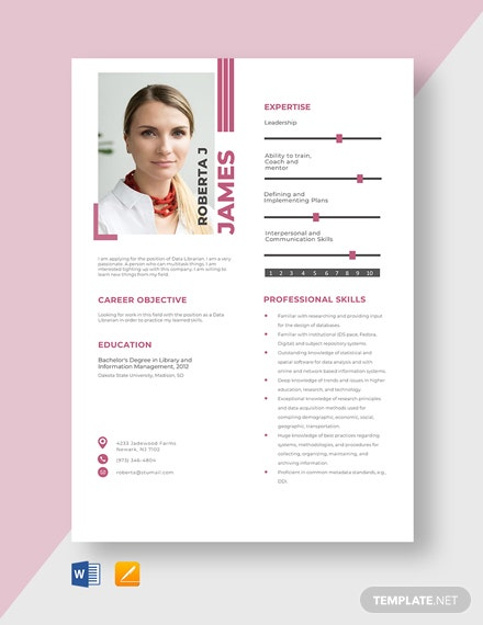 Data Librarian Resume Template