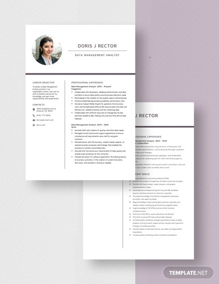 Data Management Analyst Resume Download