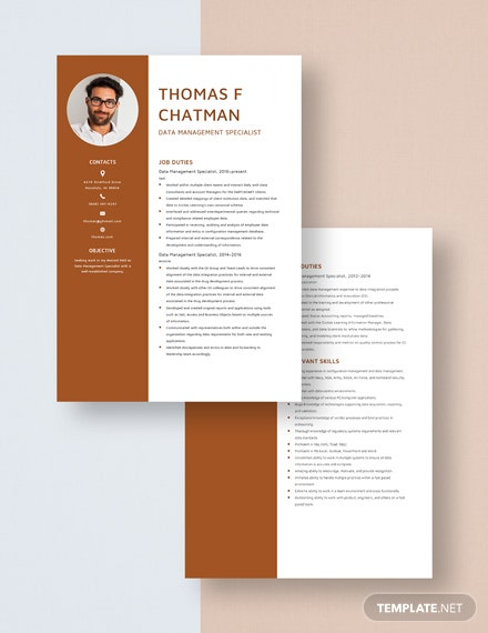 Data Management Specialist Resume Download