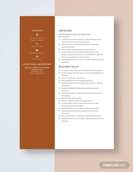 Data Management Specialist Resume Template