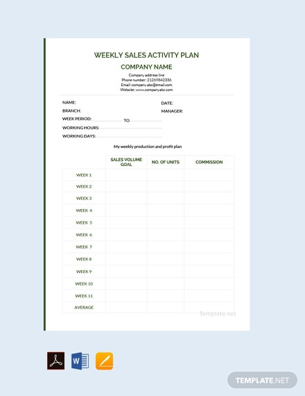 Free Weekly Sales Activity Plan Template