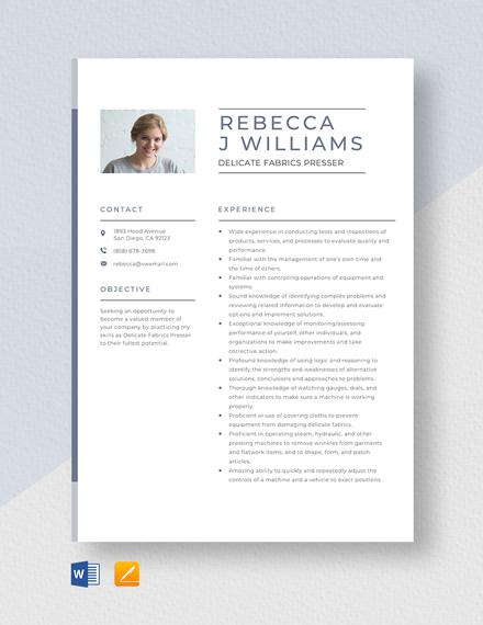 Delicate Fabrics Presser Resume Template