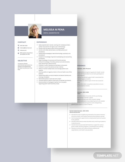 dental administrator resumecv template  word  apple pages