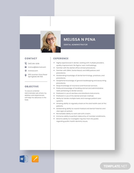 Dental Administrator Resume Template