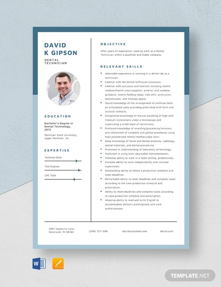 Dental Technician Resume