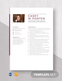 Department Store Manager Resume Template