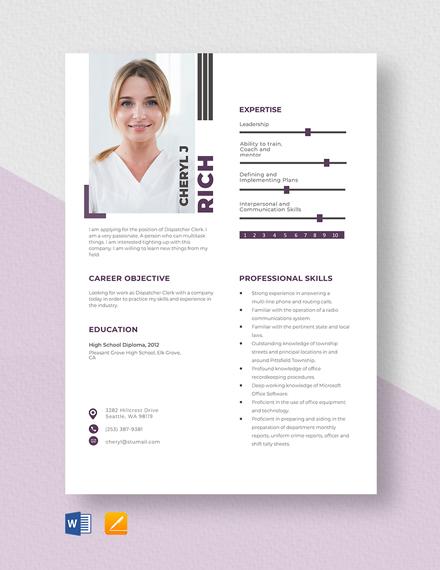 Dispatcher Clerk Resume Template