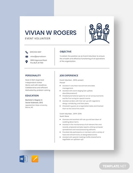 Event Volunteer Resume Template