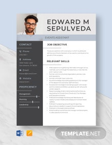 Events Assistant Resume Template