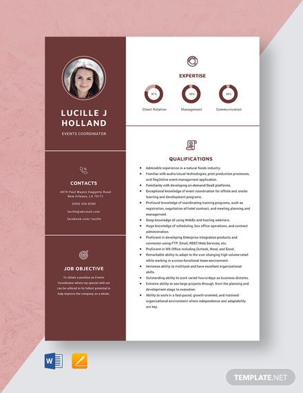 Events Coordinator Resume Template