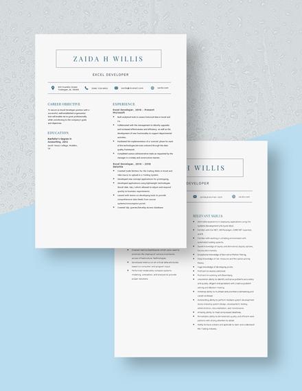 Excel Developer Resume Download