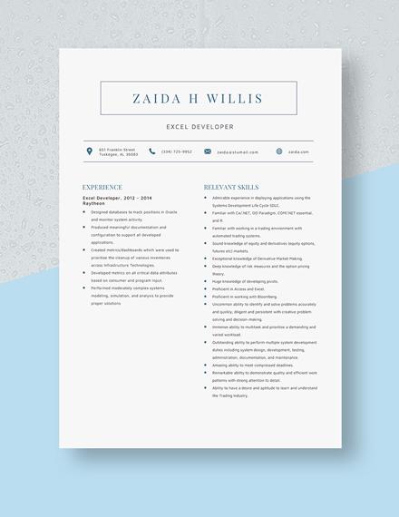 Excel Developer Resume Template