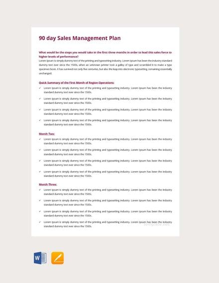 Free 90 Days Sales Management Plan Template