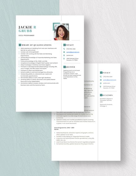 Excel Programmer Resume Download
