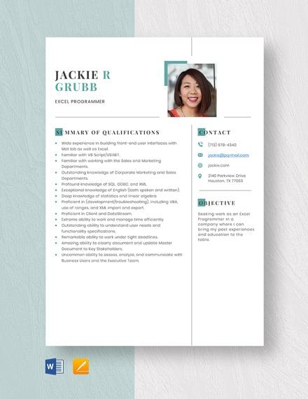 Excel Programmer Resume Template