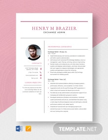 Exchange Admin Resume Template
