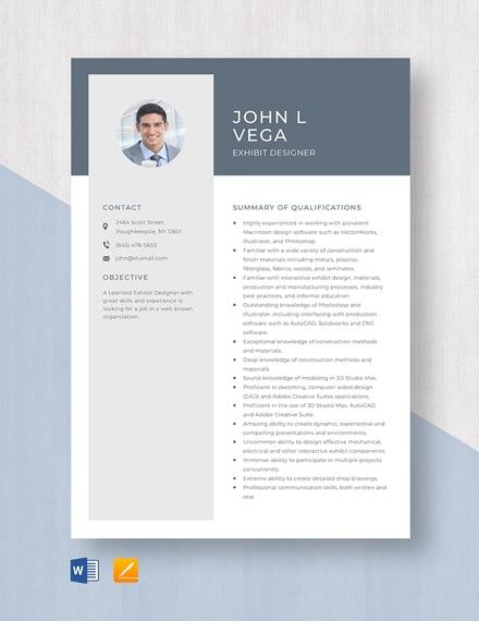 Exhibit Designer Resume Template