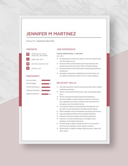 Facility Administrator Resume Template