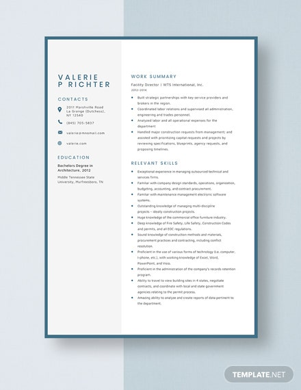 Facility Director Resume Template