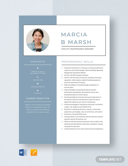 Facility Maintenance Manager Resume Template