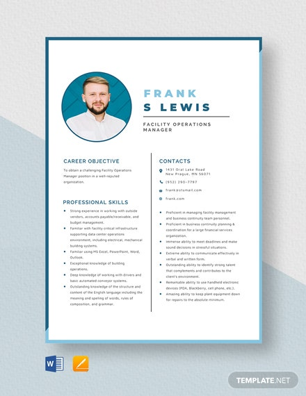 Facility Operations Manager Resume Template