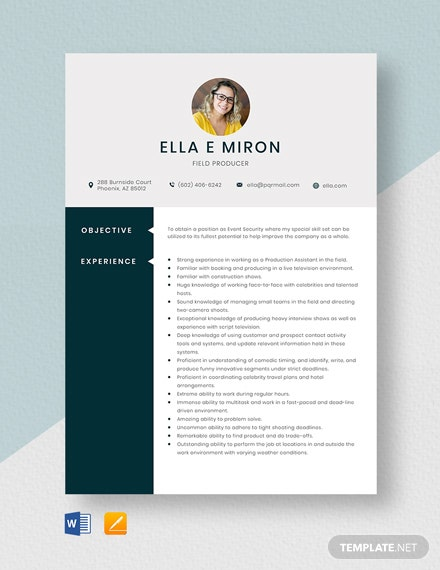 Field Producer Resume Template