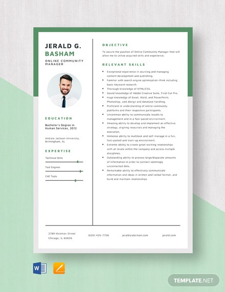 Online Community Manager Resume Template