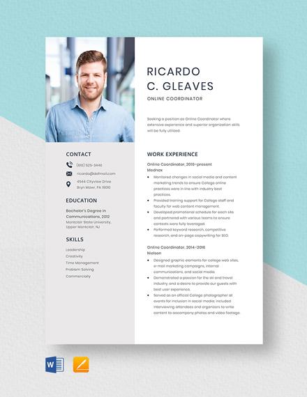 Online Coordinator Resume Template
