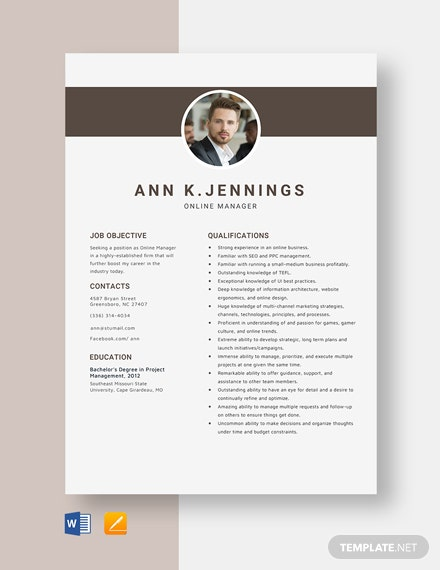 Online Manager Resume Template