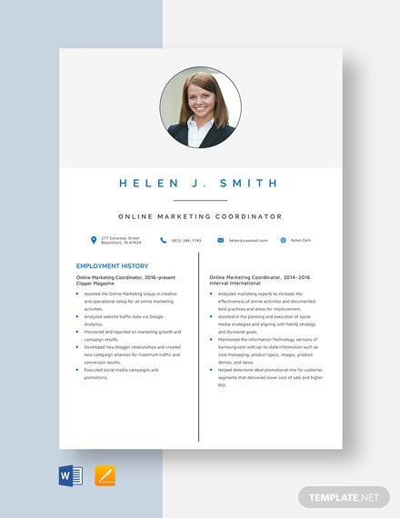 Online Marketing Coordinator Resume Template