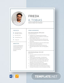 Online Marketing Manager Resume Template