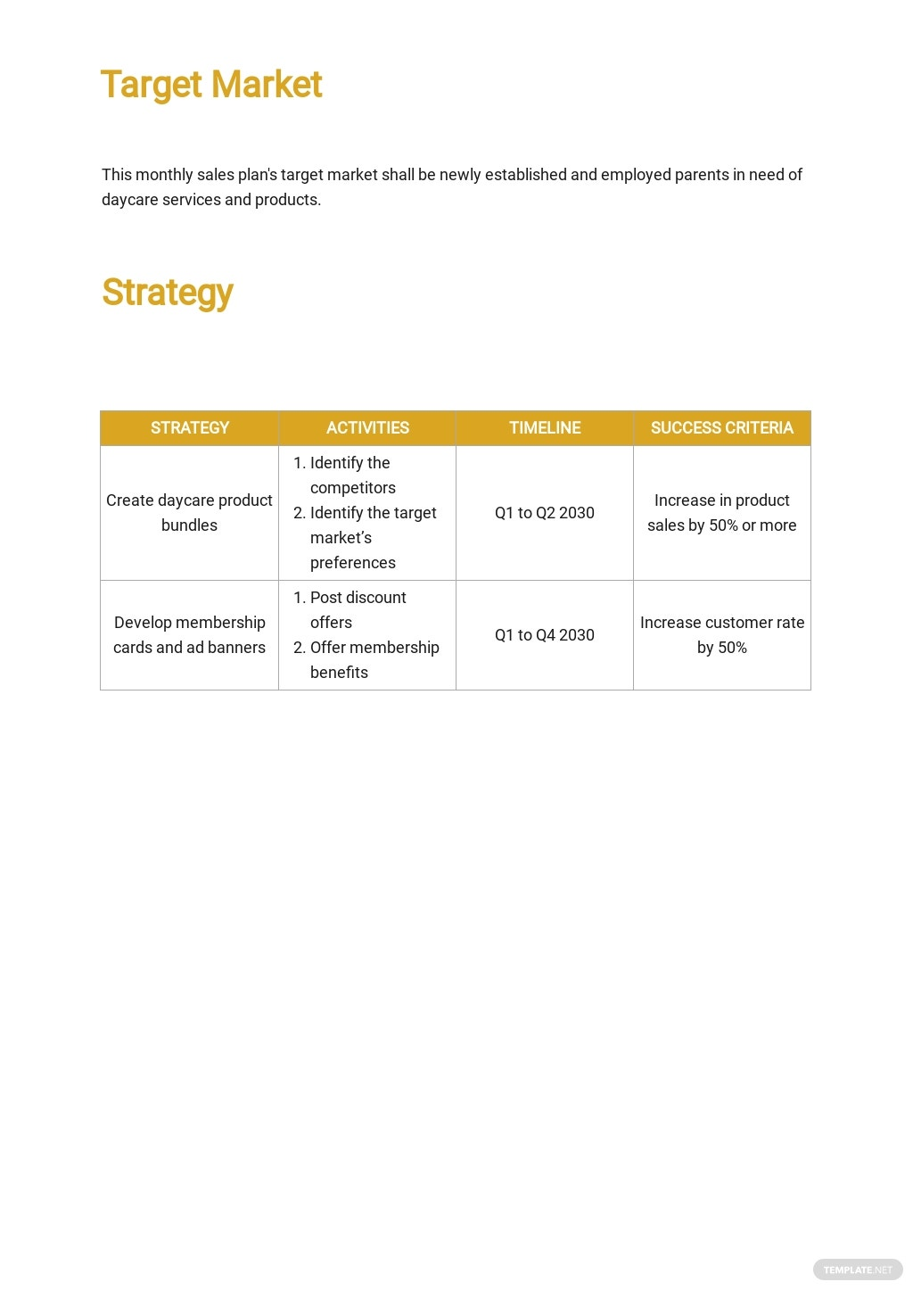 Free Monthly Sales Plan Template 2.jpe