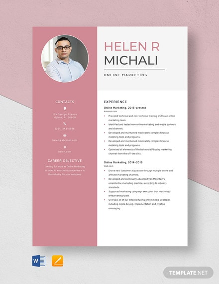 Online Marketing Resume
