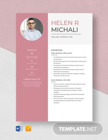 Online Marketing Resume Template