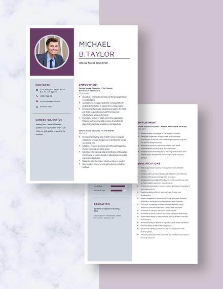 Online Nurse Educator Resume Download