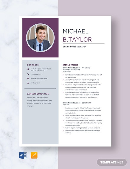 Online Nurse Educator Resume Template
