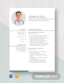 Online Nursing Instructor Resume Template