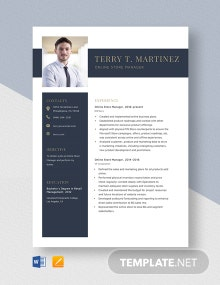 Online Store Manager Resume Template