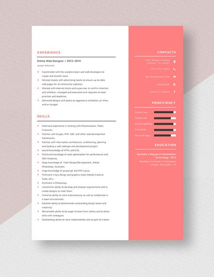 Online Web Designer Resume Template