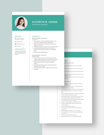 Operating Engineer Resume Download
