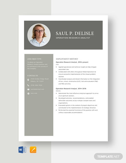 Operation Research Analyst Resume Template
