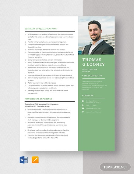 Operational Risk Manager Resume Template