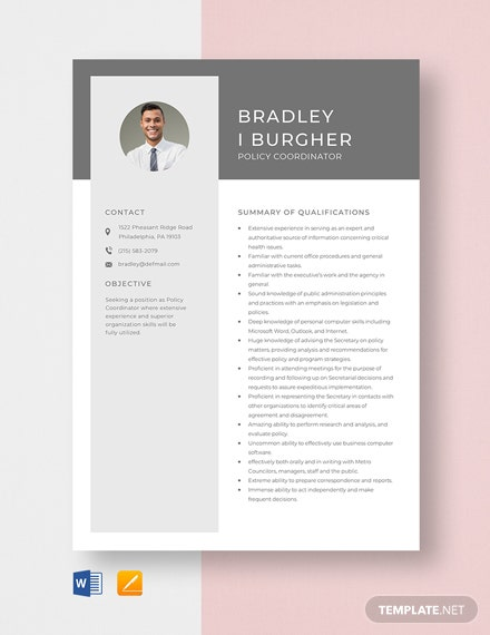 Policy Coordinator Resume Template