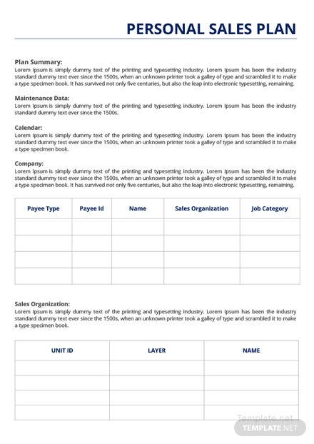 Free Personal Sales Plan Template