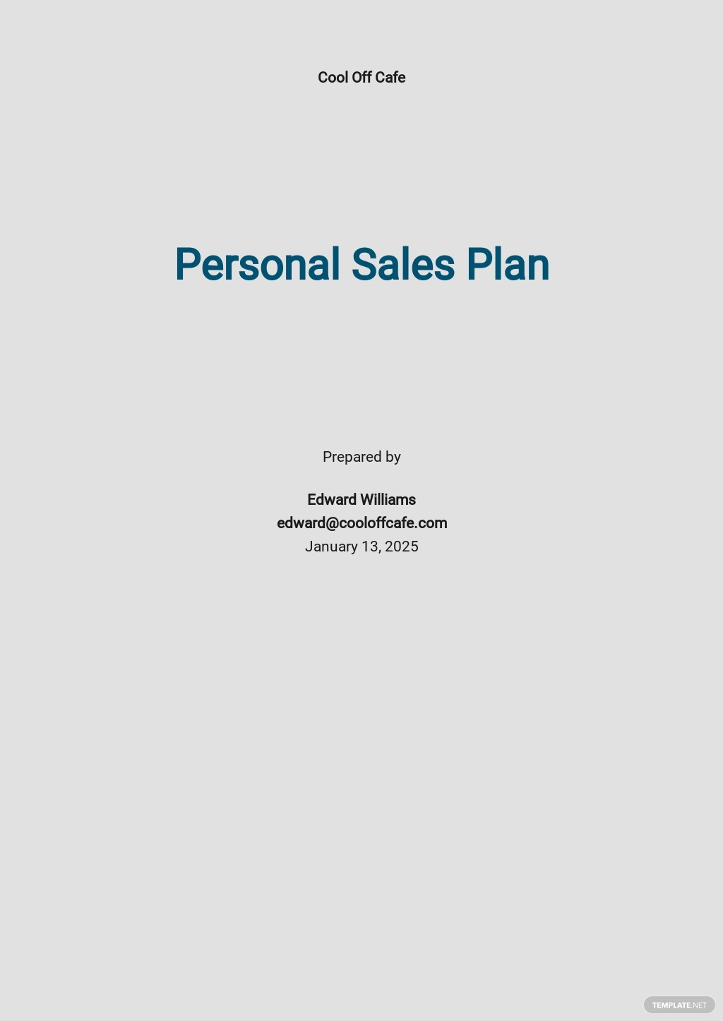 Personal Sales Plan Template