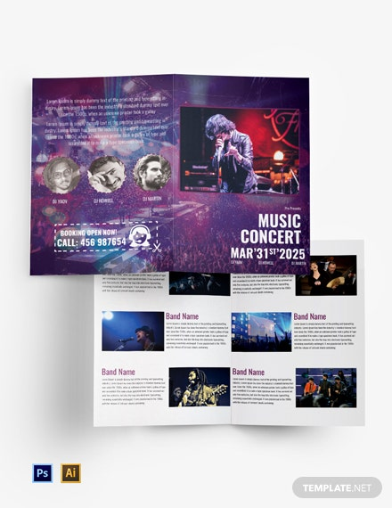 Free Music Band Bi-Fold Brochure Template